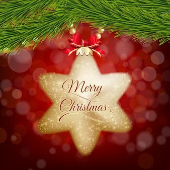 Cartão postal de natal com uma estrela de ouro cintilante no bokeh vermelho.