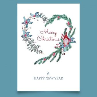 Cartão postal de natal em forma de coração com elfos escandinavos