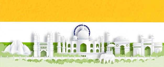 Cartão postal de panorama dos marcos mundialmente famosos da índia com a bandeira da índia, verde e laranja