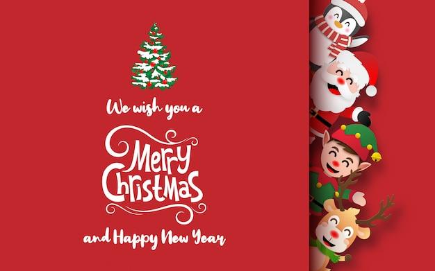 Cartão postal de personagens de papai noel e natal
