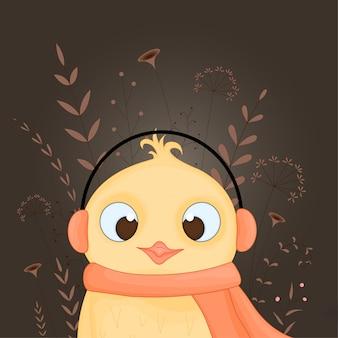 Cartão postal de presente com animais dos desenhos animados frango em um lenço e fones de ouvido.