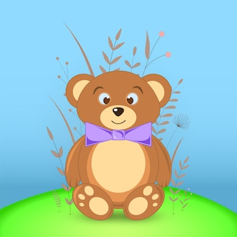 Cartão postal de presente com animais dos desenhos animados urso.