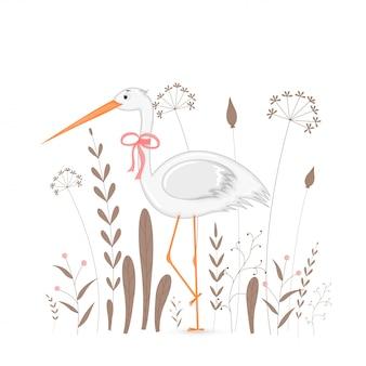 Cartão postal de presente com cegonha de animais dos desenhos animados.