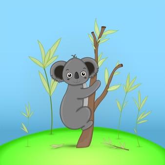 Cartão postal de presente com coala de animais dos desenhos animados. fundo floral decorativo com ramos e plantas.