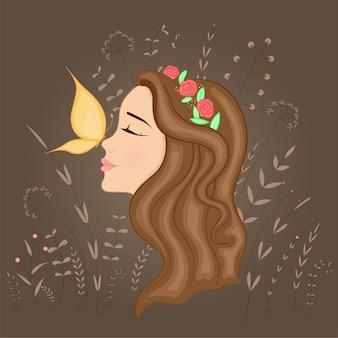 Cartão postal de presente com desenhos animados garota bonita no perfil com coroa na cabeça e borboleta