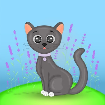 Cartão postal de presente com gato de animais dos desenhos animados.
