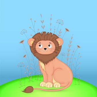 Cartão postal de presente com leão de animais dos desenhos animados.