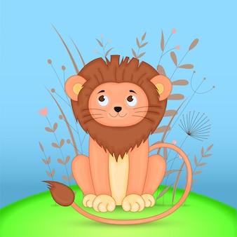 Cartão postal de presente com leão de animais dos desenhos animados