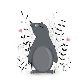 Cartão postal de presente com mole de animais dos desenhos animados. decorativo fundo floral com ramos e plantas.