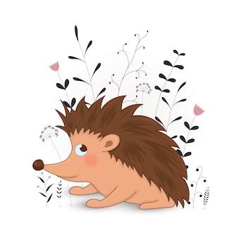Cartão postal de presente com ouriço de animais dos desenhos animados.