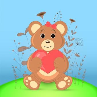 Cartão postal de presente com urso de animais dos desenhos animados.