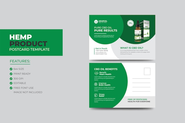 Cartão-postal de produto de cânhamo ou cbd