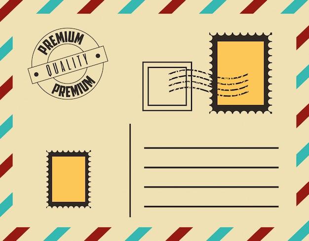Cartão postal de qualidade premium com selos