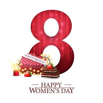 Cartão postal de saudação moderna branca para o dia da mulher