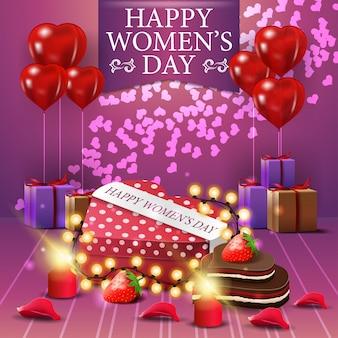 Cartão postal de saudação rosa para o dia da mulher com blloon snd presentes