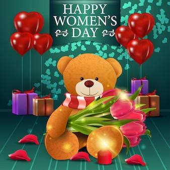 Cartão postal de saudação verde para o dia da mulher com blloon