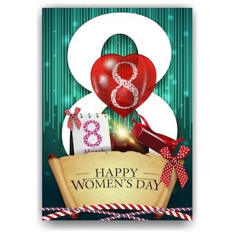 Cartão postal de saudação verde para o dia da mulher