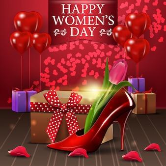 Cartão postal de saudação vermelha para o dia da mulher com blloon