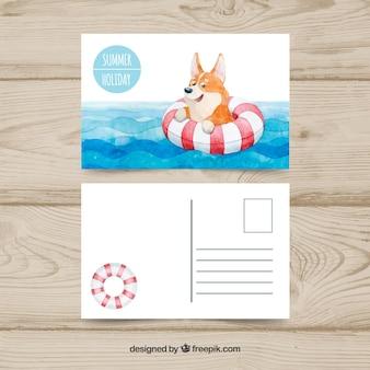 Cartão postal de verão bonito em estilo aquarela com cachorro