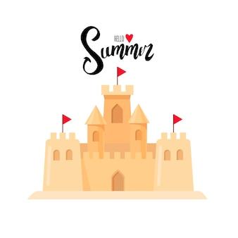 Cartão postal de verão. inscrição caligráfica olá, verão. castelo de areia. desenho de desenho animado.