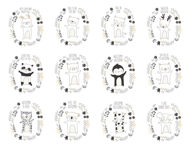 Cartão postal de vetor com animal rodeado por uma grinalda de planta com slogan de outono. dia de ação de graças, aniversário, chá de bebê, aniversário, festa infantil, feriados de outono