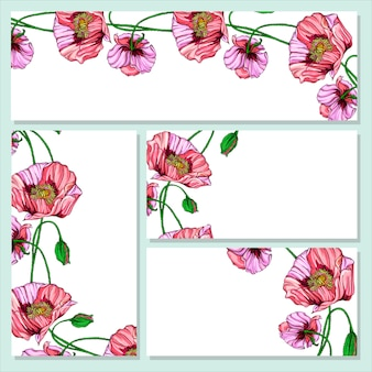 Cartão postal de vetor com flores de papoula rosa