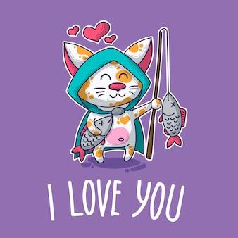 Cartão postal de vetor sobre gato apaixonado