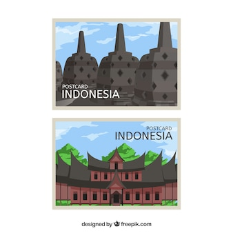 Cartão postal de viagem com arquitetura indonésia