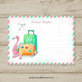 Cartão postal de viagem com bagagem em estilo aquarela
