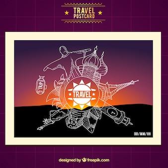 Cartão postal de viagem com monumentos de monolines