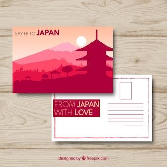 Cartão postal de viagem com paisagem japonesa