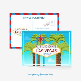 Cartão postal de viagem com sinal de las vegas