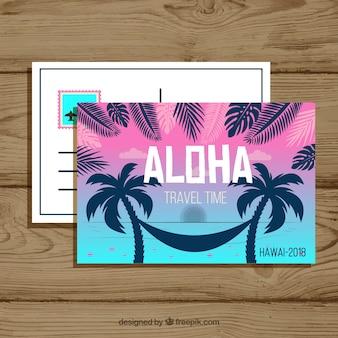 Cartão postal de viagens de verão com design plano