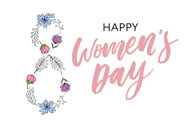 Cartão postal do dia da mulher feliz.