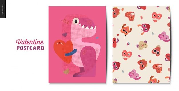 Cartão postal dos namorados com dinossauro