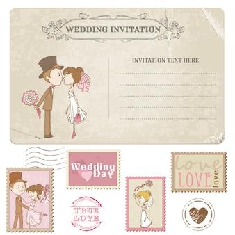 Cartão postal e selos postais de casamento