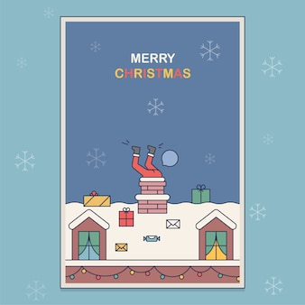 Cartão postal em que papai noel está preso em uma chaminé. ilustração em um estilo simples sobre um tema de natal