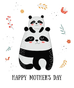 Cartão postal feliz do dia das mães ilustrações de desenhos animados de desenhos animados mamãe gata com uma criança