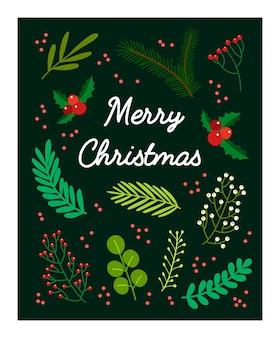 Cartão postal floral feliz natal