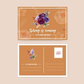 Cartão postal floral vinho com rosa, peônia, ilustração aquarela anêmona.