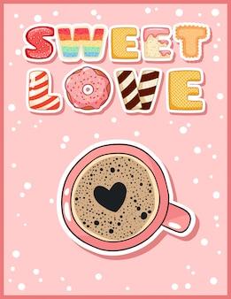 Cartão postal fofo engraçado de amor doce com café