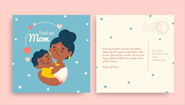 Cartão-postal infantil fofo do dia das mães