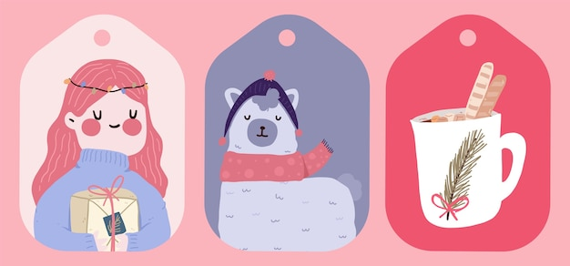Cartão postal padrão bonito design de adesivo
