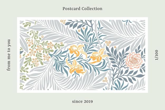Cartão postal padrão de william morris Vetor grátis
