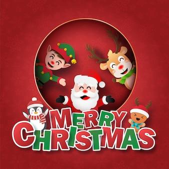 Cartão postal papai noel e amigo na janela com texto feliz natal