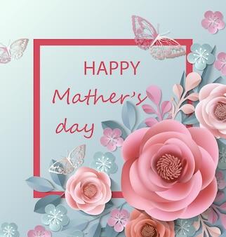 Cartão postal para o dia das mães com flores de papel vector modelo
