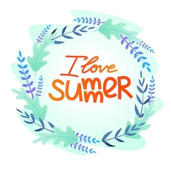 Cartão postal plana com uma inscrição eu amo o verão