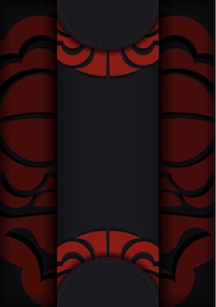 Cartão postal preto com ornamentos vintage maori e lugar para o seu texto e logotipo. plano de fundo de design pronto para impressão com ornamentos luxuosos.