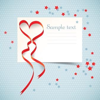 Cartão-postal preto e branco com campo de texto e fita vermelha de coração com estrelas coloridas ilustração vetorial plana