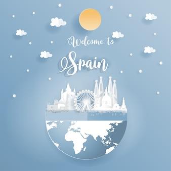 Cartão postal promovendo mundialmente famosos monumentos da espanha